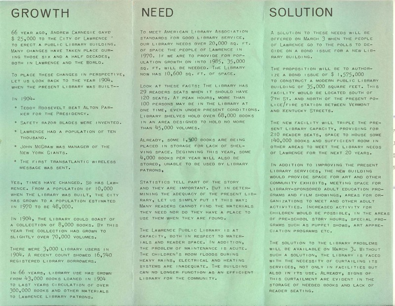 Brochure Advocating a New Library, 1970