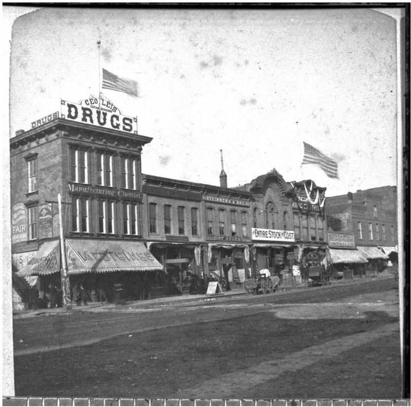 Businesses on Massachusetts Street in Lawrence, Kan., 1890
