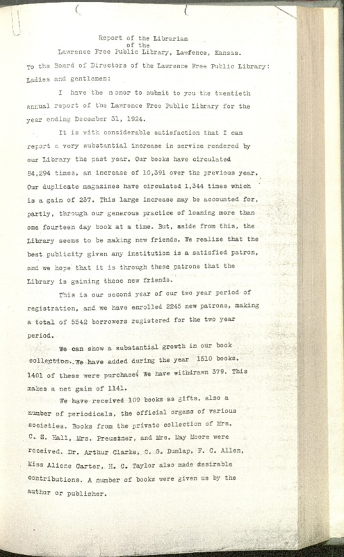 Lawrence Public Library Annual Report, 1924