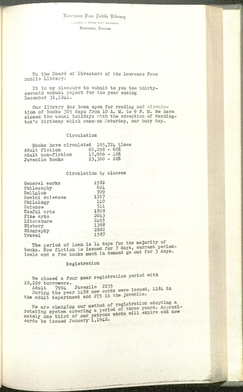 Lawrence Public Library Annual Report, 1941