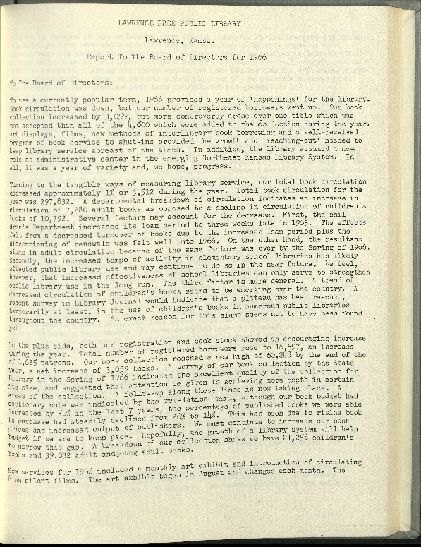 Lawrence Public Library Annual Report, 1966