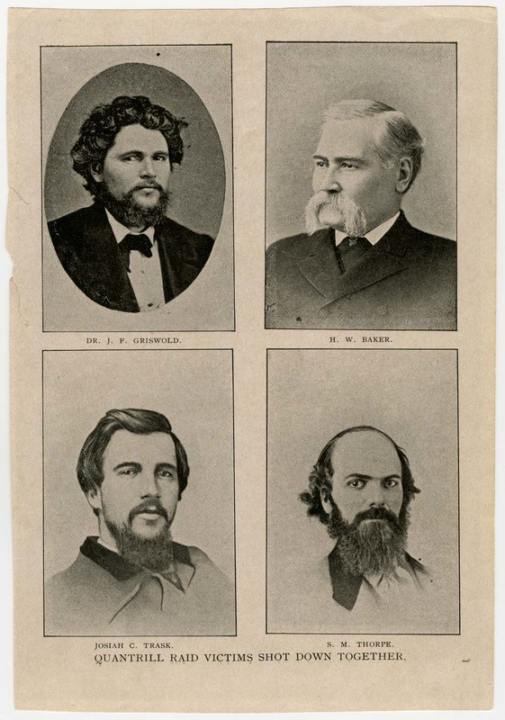 Quantrill's Raid Victims, Dr. J.F. Griswold, H.W. Baker, Josiah C. Trask, and S.M. Thorpe