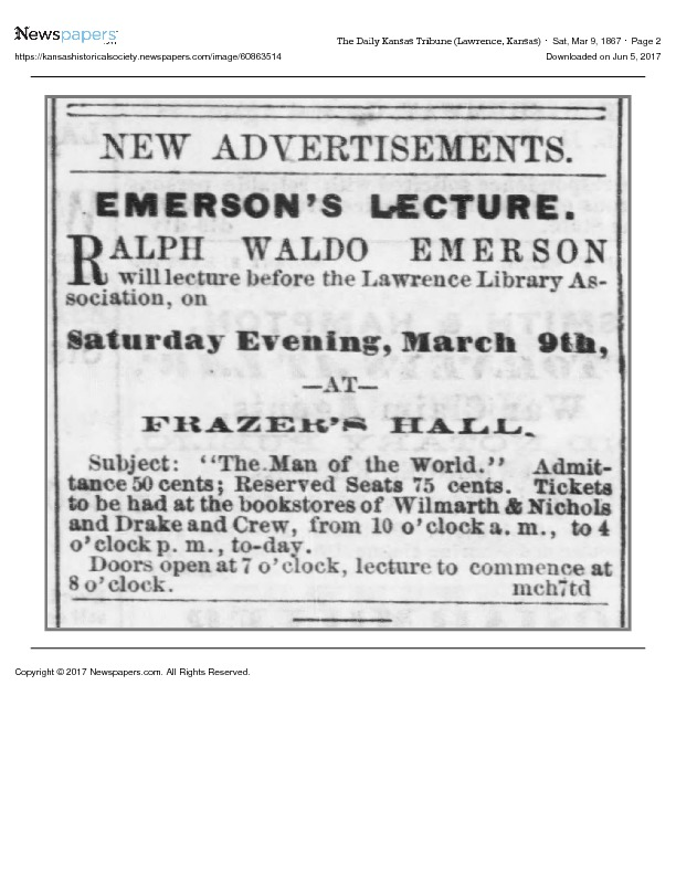 Advertisement for Ralph Waldo Emerson Lecture, 1867