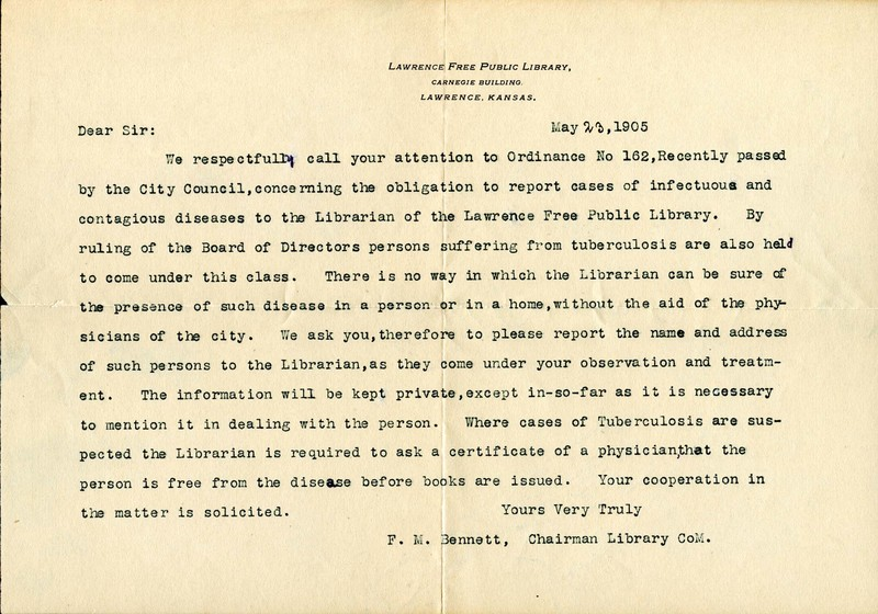 Letter to a Doctor Regarding Tuberculosis in the Library