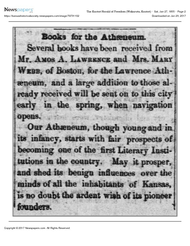 Books for the Atheneum, 1855