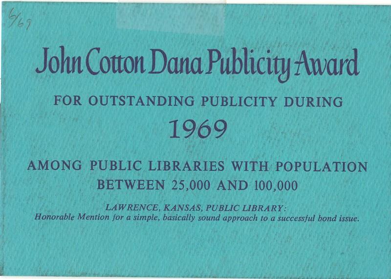 John Cotton Dana Publicity Award, 1969