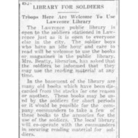 Invitation to Soliders Stationed in Lawrence, 1917