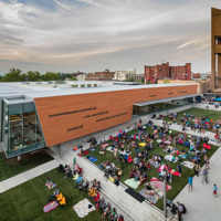 Renovated Library, Aerial View Exterior Plaza
