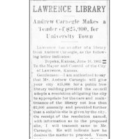 Announcement of Carnegie Grant, 1902