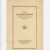 Liberty Memorial High School Fifty-ninth Commencement Pamphlet, 1933.